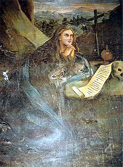 A painting of Mary Magdalene in penitence that no longer features at Brennac church.