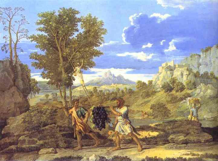 GRAPES OF THE PROMISED LAND by Nicolas Poussin complete with Mountains, hilltop villages and BLUE APPLES
