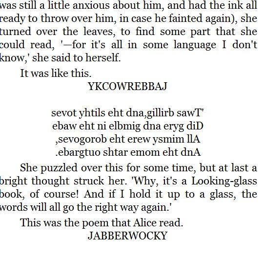 The Poem JABBERWOCKY backwards